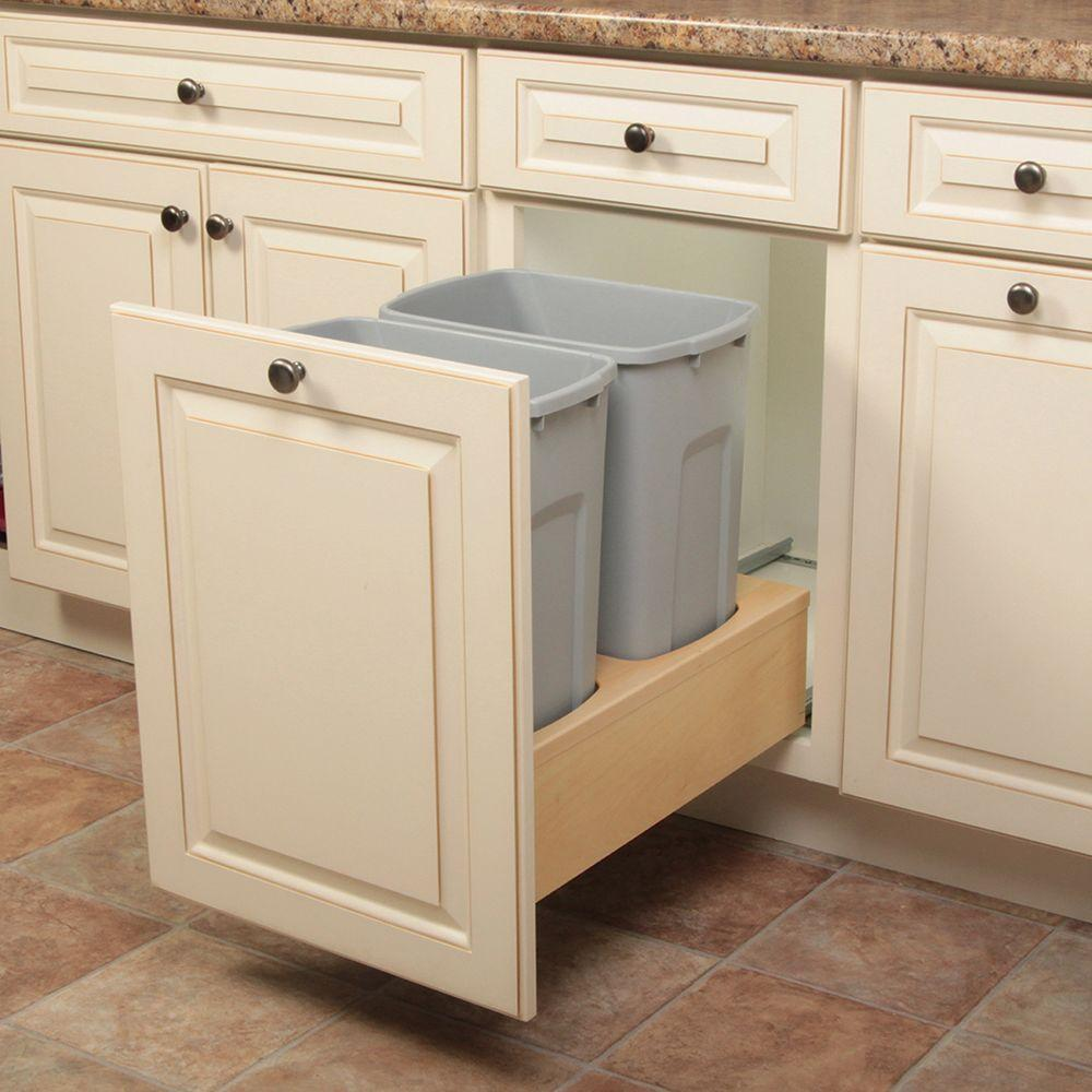 Knape Vogt 19 In H X 14 In W X 23 In D Wooden 35 Qt Undermount Double Soft Close Pull Out Trash Can In Gray Wusc15 2 35pt The Home Depot Kitchen