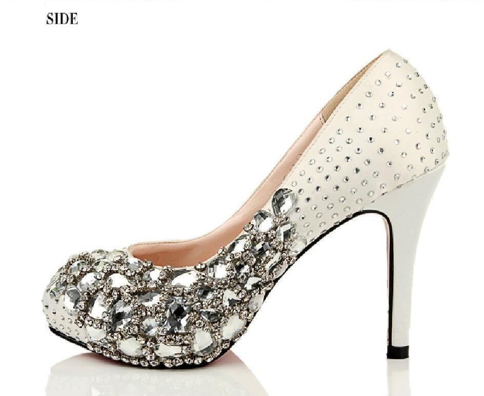 47ad8f8a5ad Fashion Handmade Rhinestone High Heels Pointed Toe Crystal Wedding Bridal  Shoes