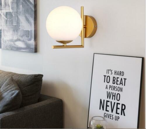 Modern Wall Lamp Single White Globe Glass Shade Wall Sconce Home Corridor Decor