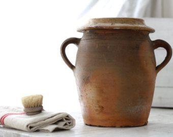Veldig stor.  Franske antikke terracota potten 19..  Fransk gammel keramikk.  Fransk confit potten.  Gammel keramikk krukke.  Fransk kjøkken potten.  Redskaper potten.