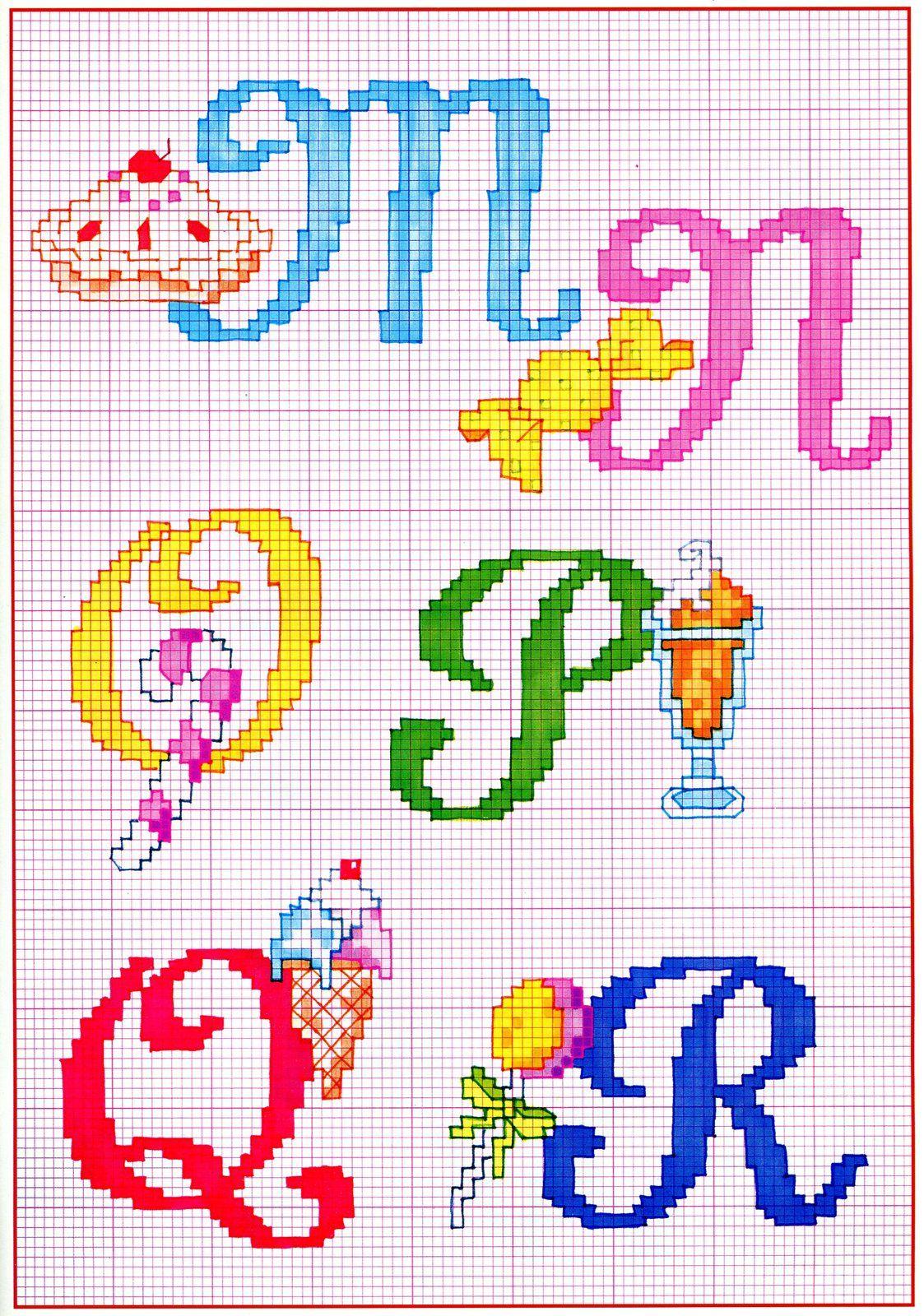 Sweets and fruit alphabet cross stitch patterns alfabeto punto croce
