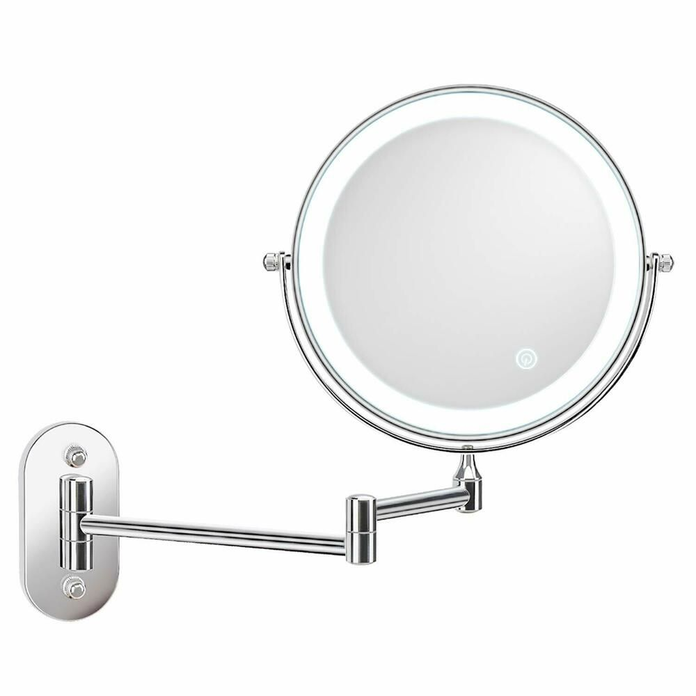 Alvorog Wall Mounted Makeup Mirror 8 Inches Led Touch Screen