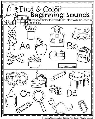 back to school kindergarten worksheets beginning sounds. Black Bedroom Furniture Sets. Home Design Ideas