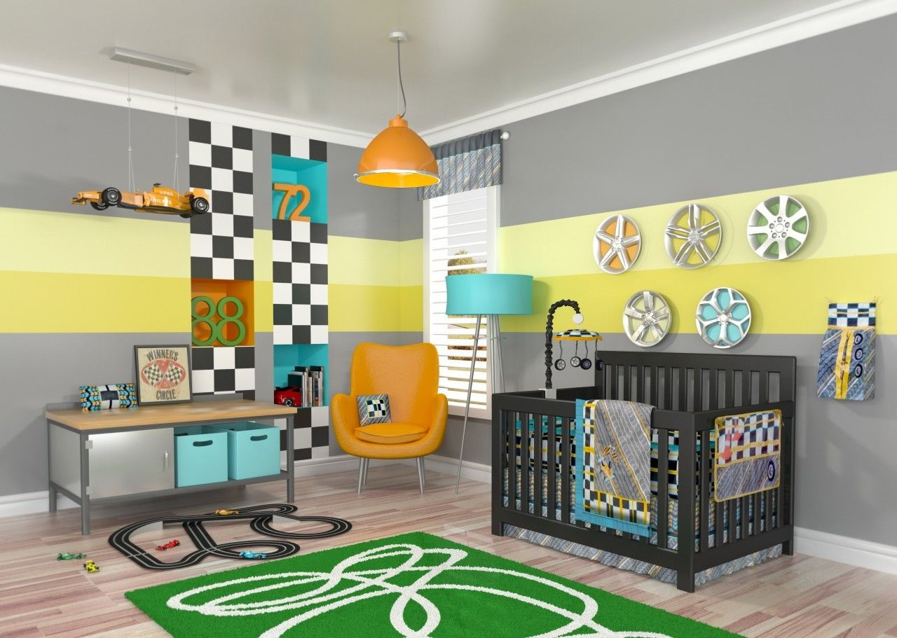 Leigh gender neutral 10pc owl baby crib bedding set grey yellow green - Love The Racing Stripes On The Walls 10pc Race Car Nursery Crib Boy Bedding Tiny