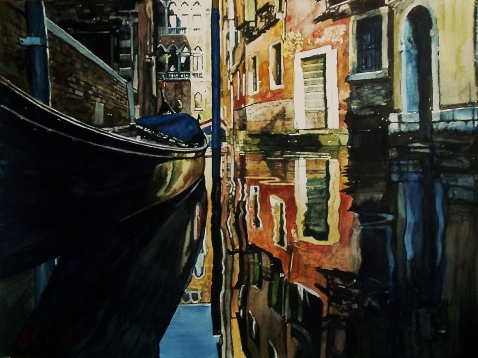 Paul Dmoch Rio De La Verona A Venise Italie Aquarelle