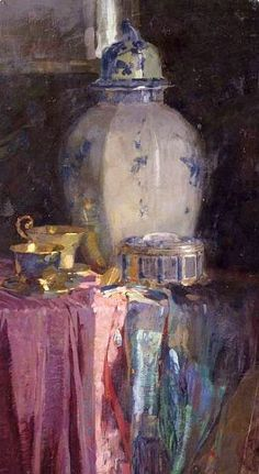 """stilllifequickheart: """"Unknown (Italian) Still Life with Chinese Vase Late 19th - early 20th century """""""