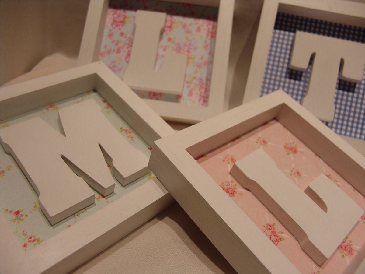 Cuadros cuadritos letras iniciales para bebes decoracion for Cuadros habitacion bebe