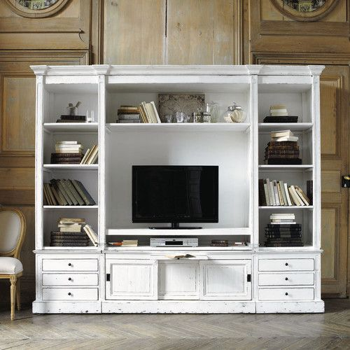 biblioth que meuble tv en bois massif ivoire l 264 cm meuble tv en bois massif biblioth que. Black Bedroom Furniture Sets. Home Design Ideas