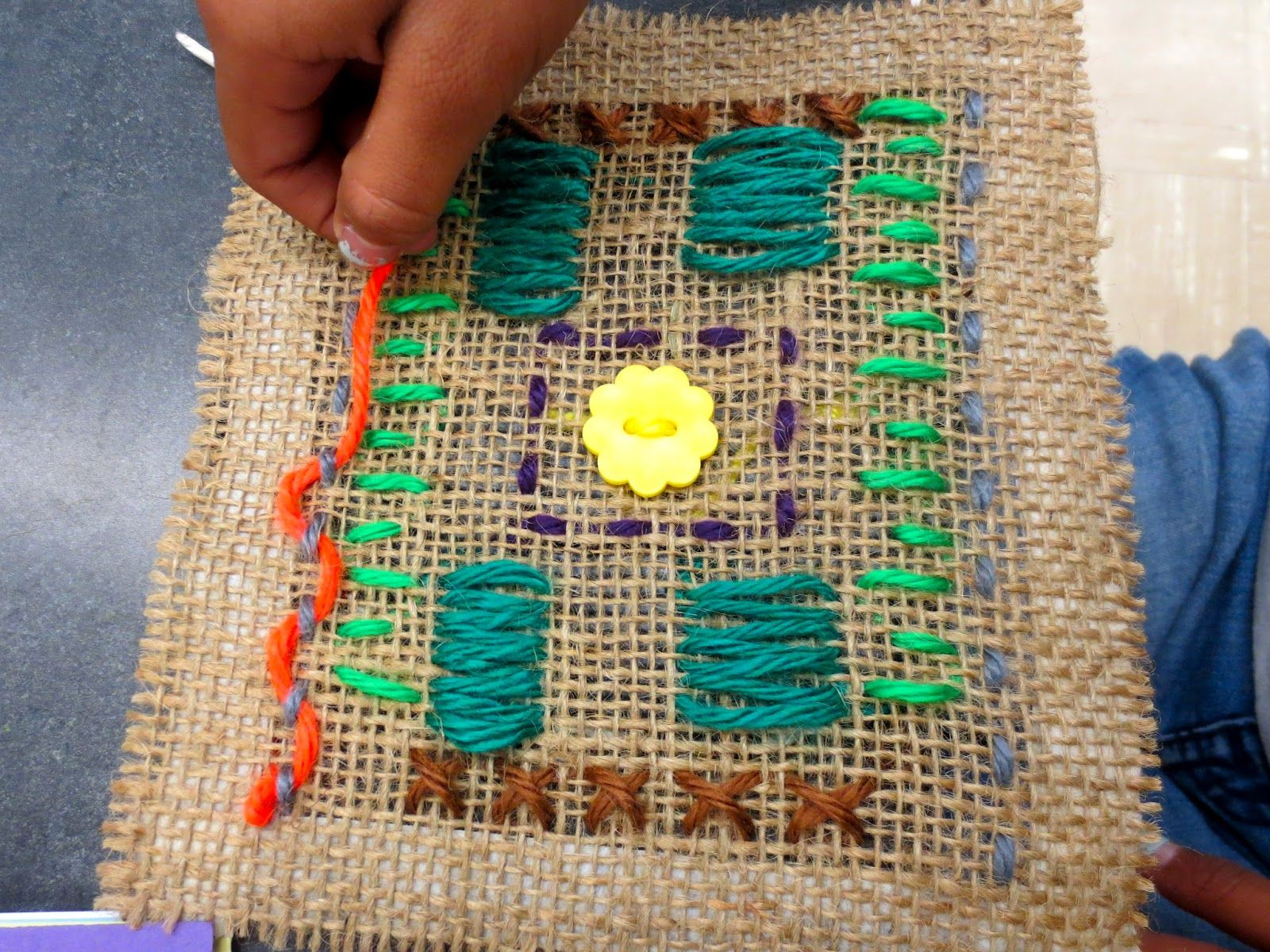 Zilker Elementary Art Classfourth Graders Are Sewing We Are Learning The Cross Stitch Straight