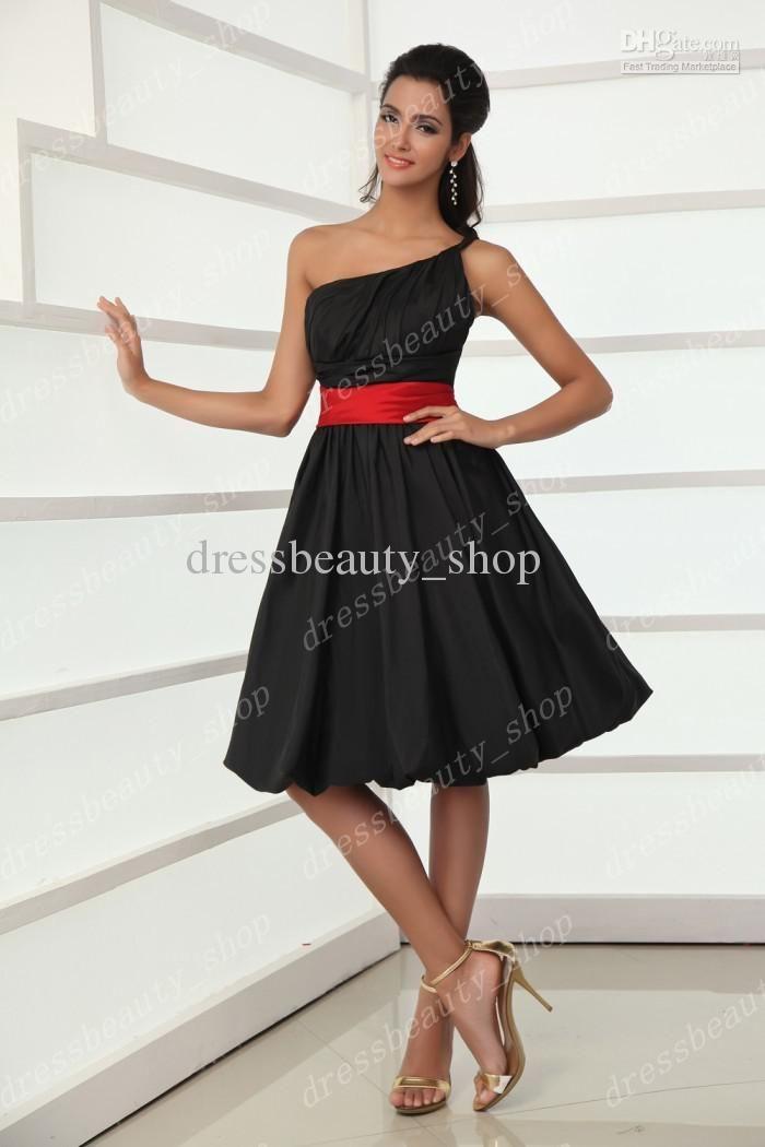 Black Bridesmaid Dresses With Red Sashes 2013 Taffeta Little Black