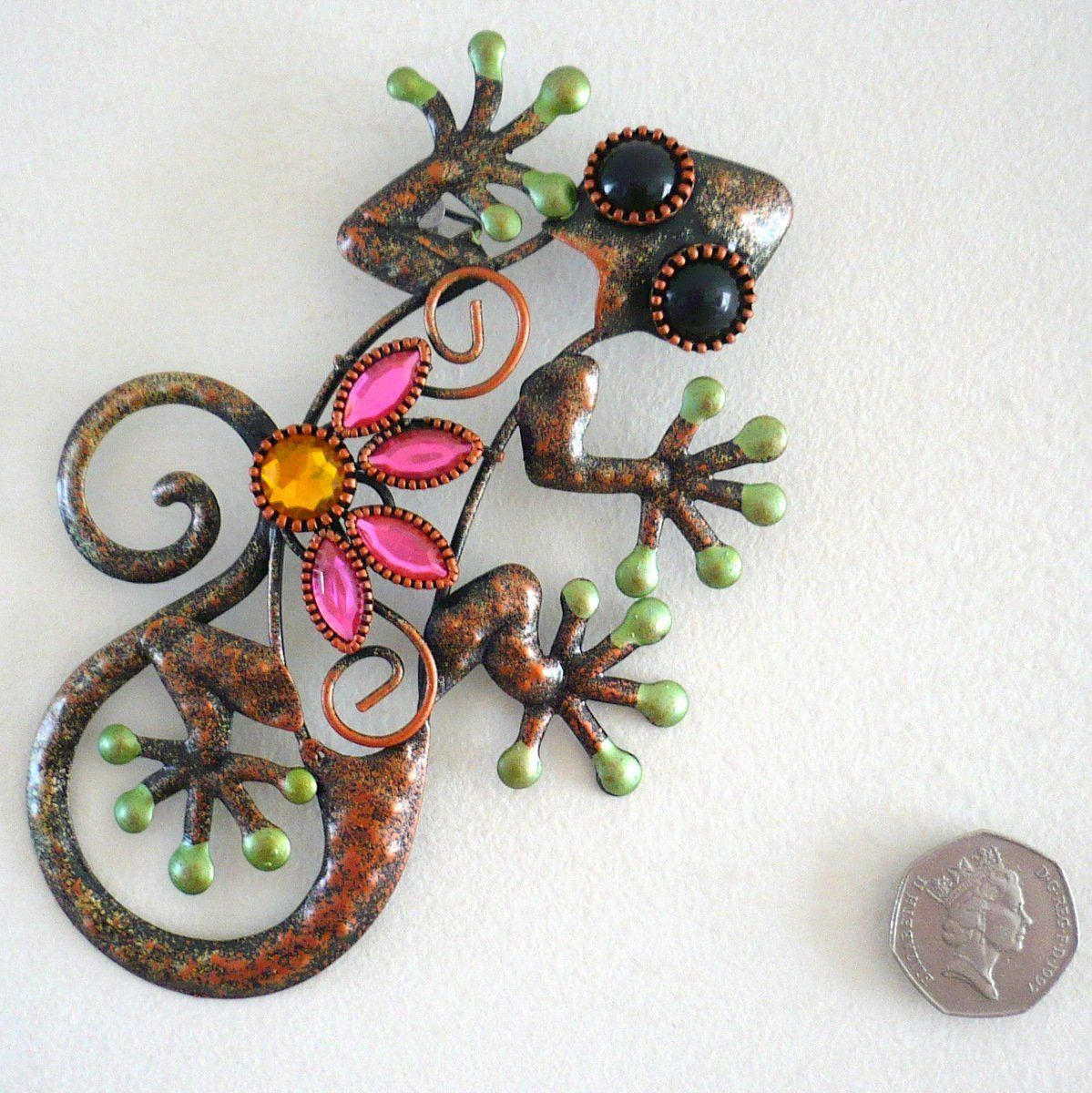 Gecko mini metal wall art with gems for indoor or outdoor use