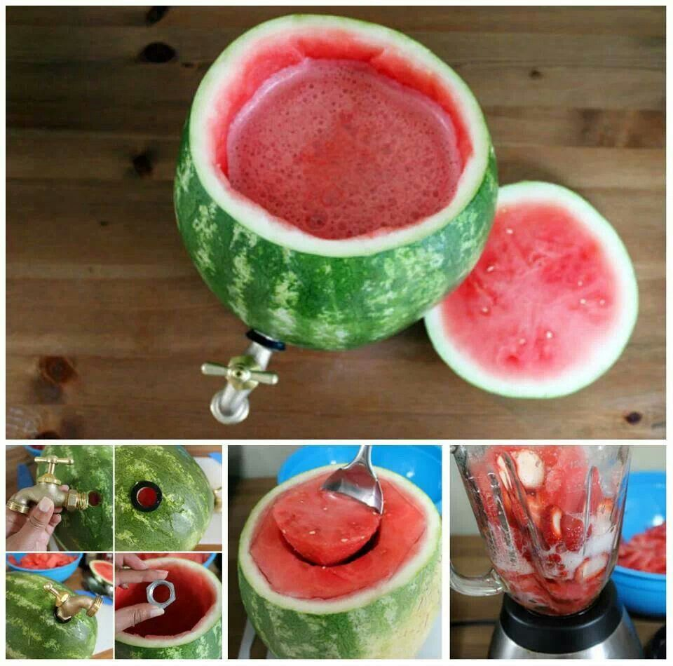 How to Turn a Watermelon into a Drink Dispenser | Fun drinks, Foods ...