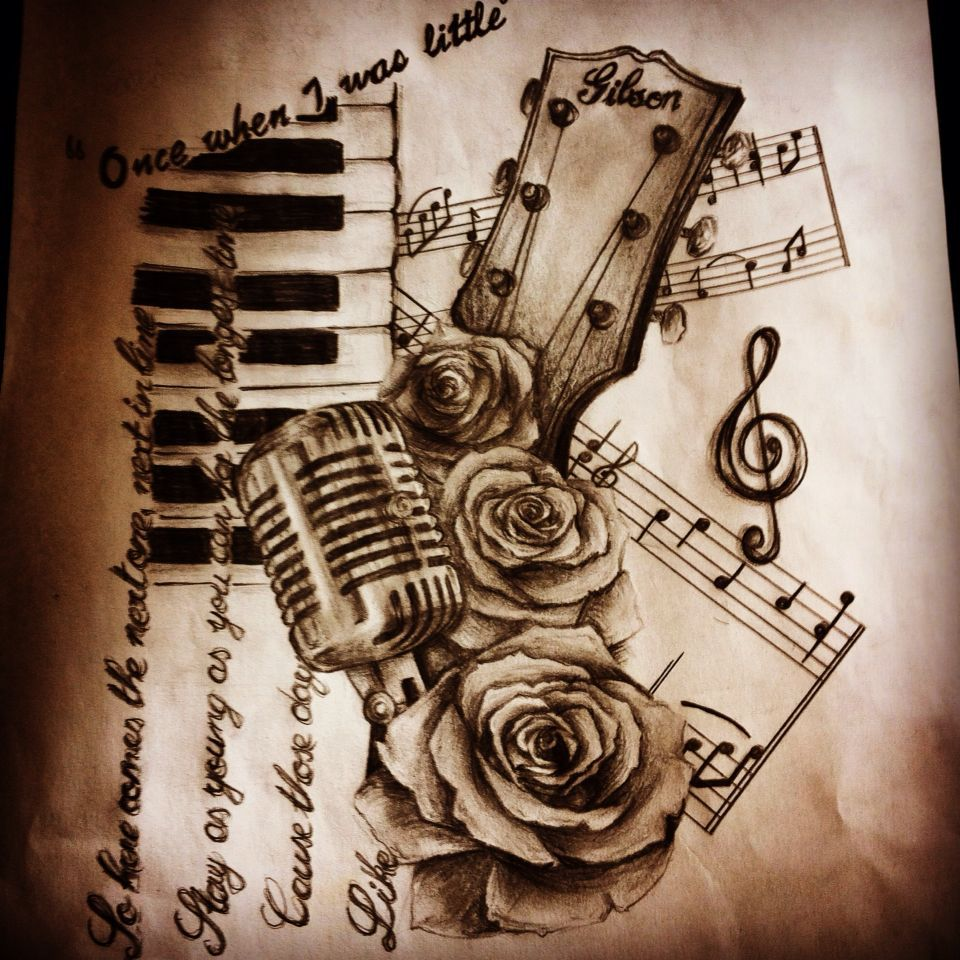 Music tattoo designs tattoo ideas pictures tattoo ideas pictures - Music Tattoo Design Gibson Guitar Microphone A Ready Made Collage For Polyclay