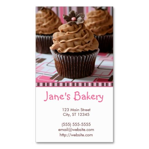 Pink Brown Cupcakes Business Card Zazzle Com With Images