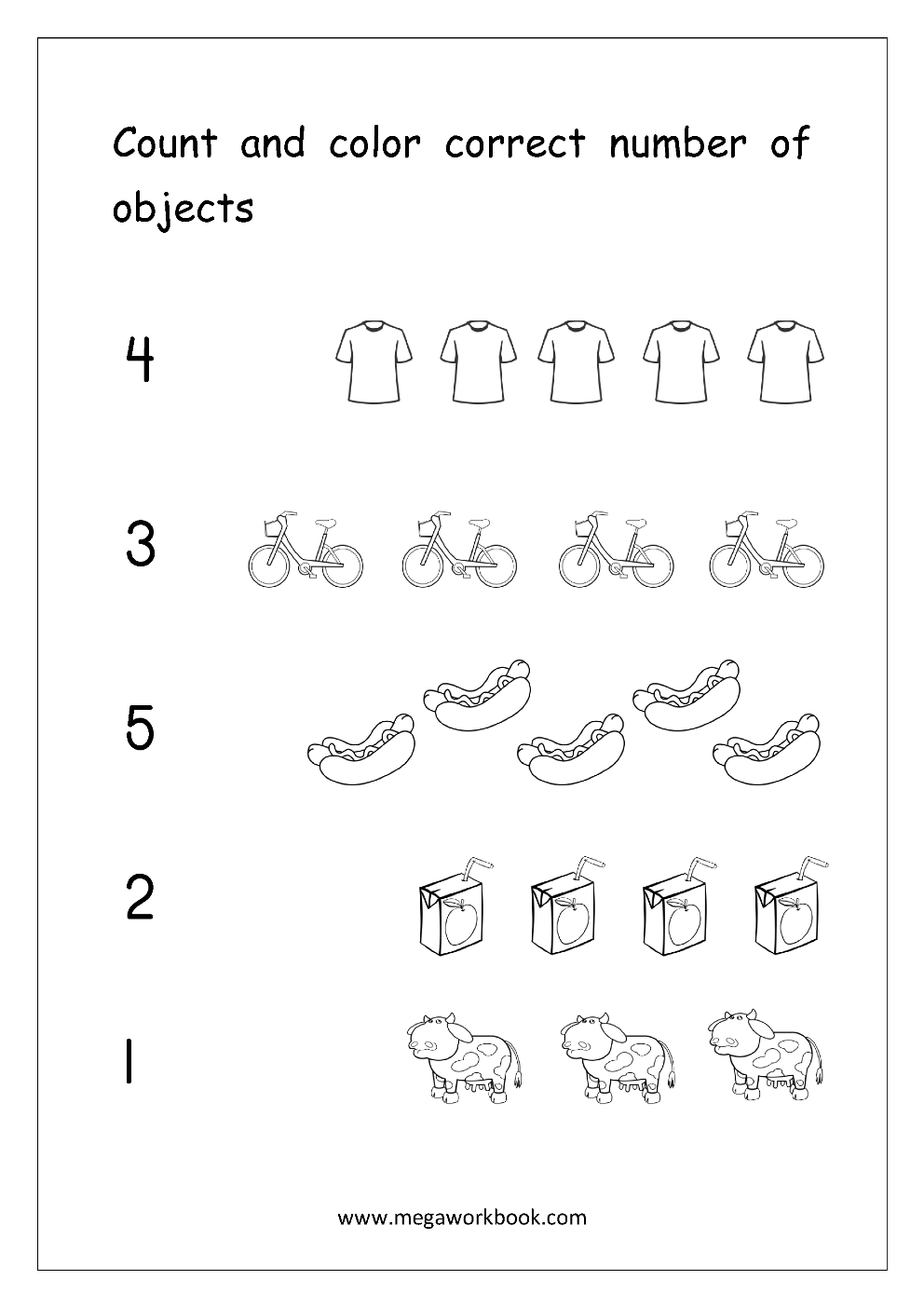 Math Worksheet - Count And Color Correct Number Of Objects (1-5 ...