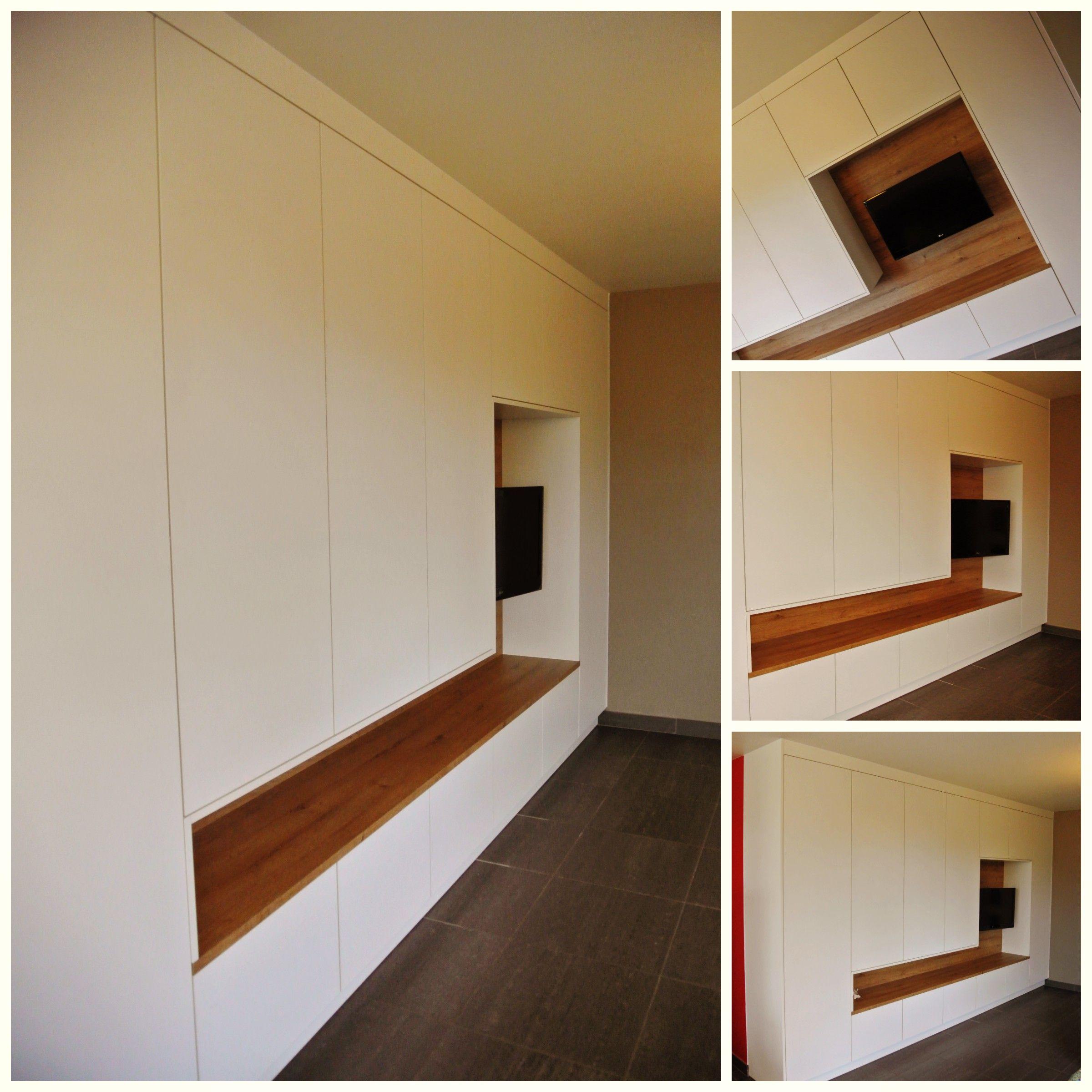 Inbouwkast tv open schappen afwerken met hout mdf for Vijverrand afwerken met hout