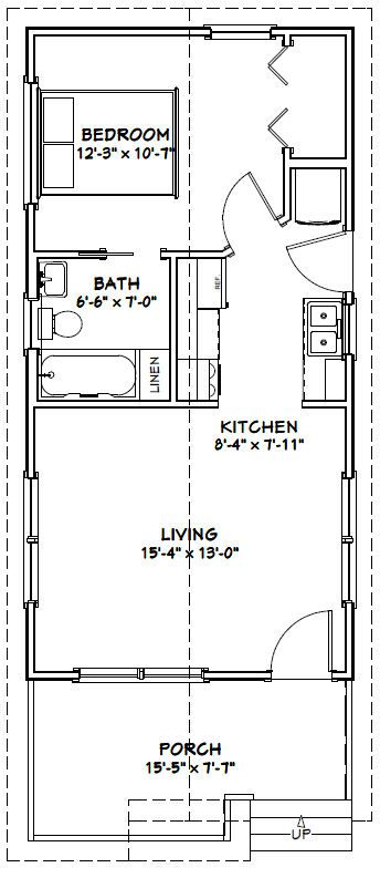16x32 tiny house 16x32h1c 511 sq ft excellent for 16x32 2 story house plans