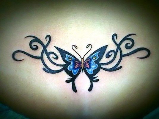Butterfly Tramp Stamp Tribal Tattoo Idea Lower Back Tattoo Designs Back Tattoo Women Cover Up Tattoos
