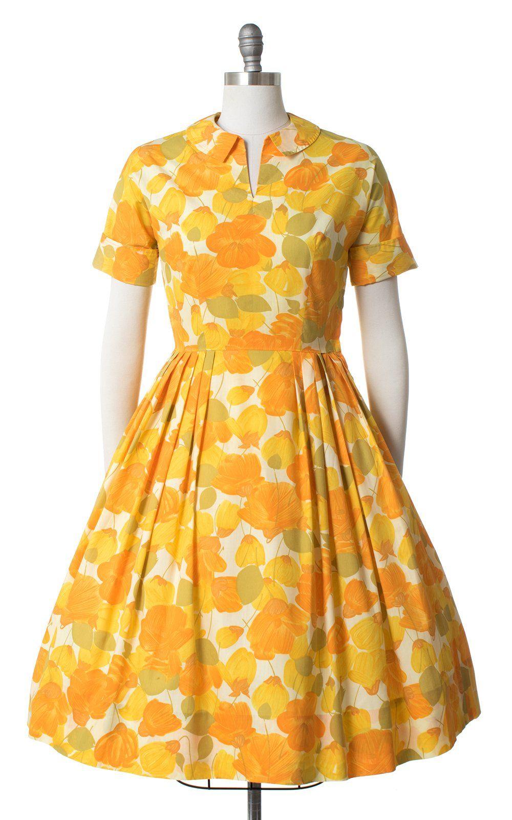 1950s Poppies Dress Medium Yellow Swing Dress Dresses Yellow Floral Dress [ 1600 x 1000 Pixel ]