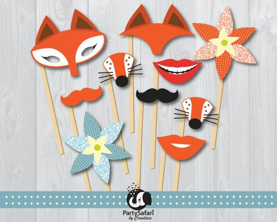 This Printable Photo Booth Prop Set Is Part Of The Adorable Woodland Red Fox Collection
