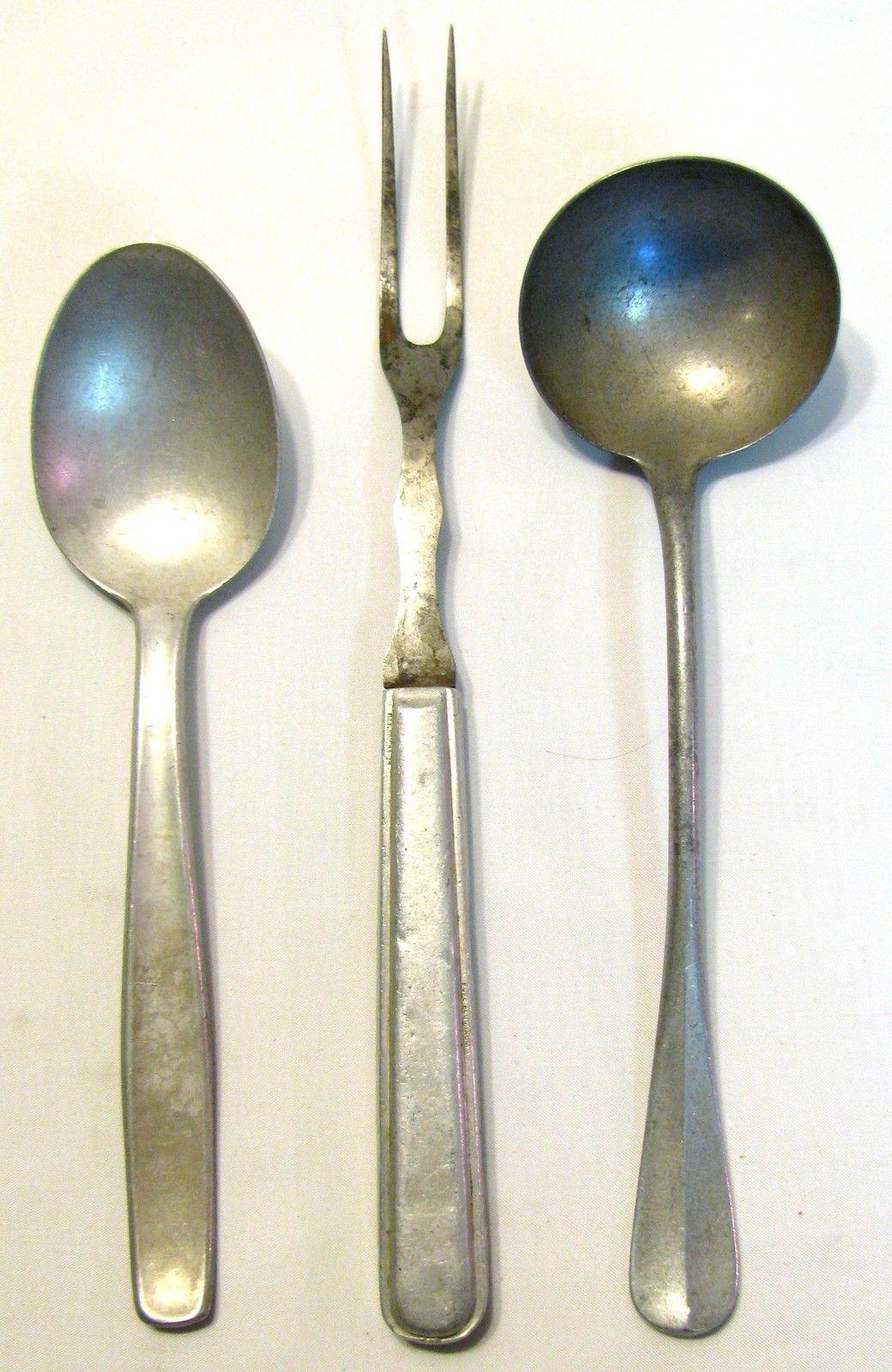 Vintage German WW2 era Aluminum Serving Spoon Fork Ladle Utensils