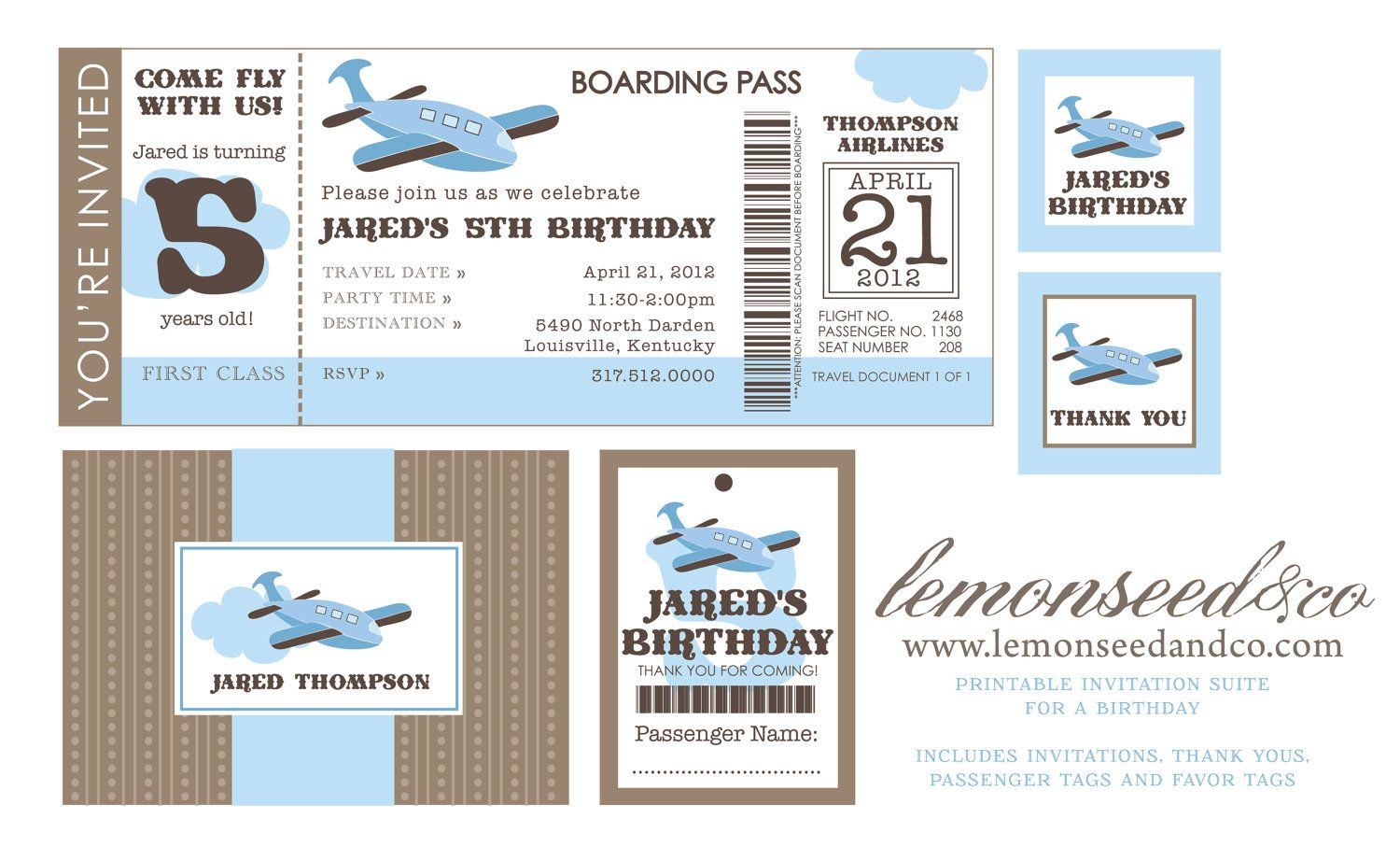 Printable DIY Airplane Birthday Invitation Ticket Invitations