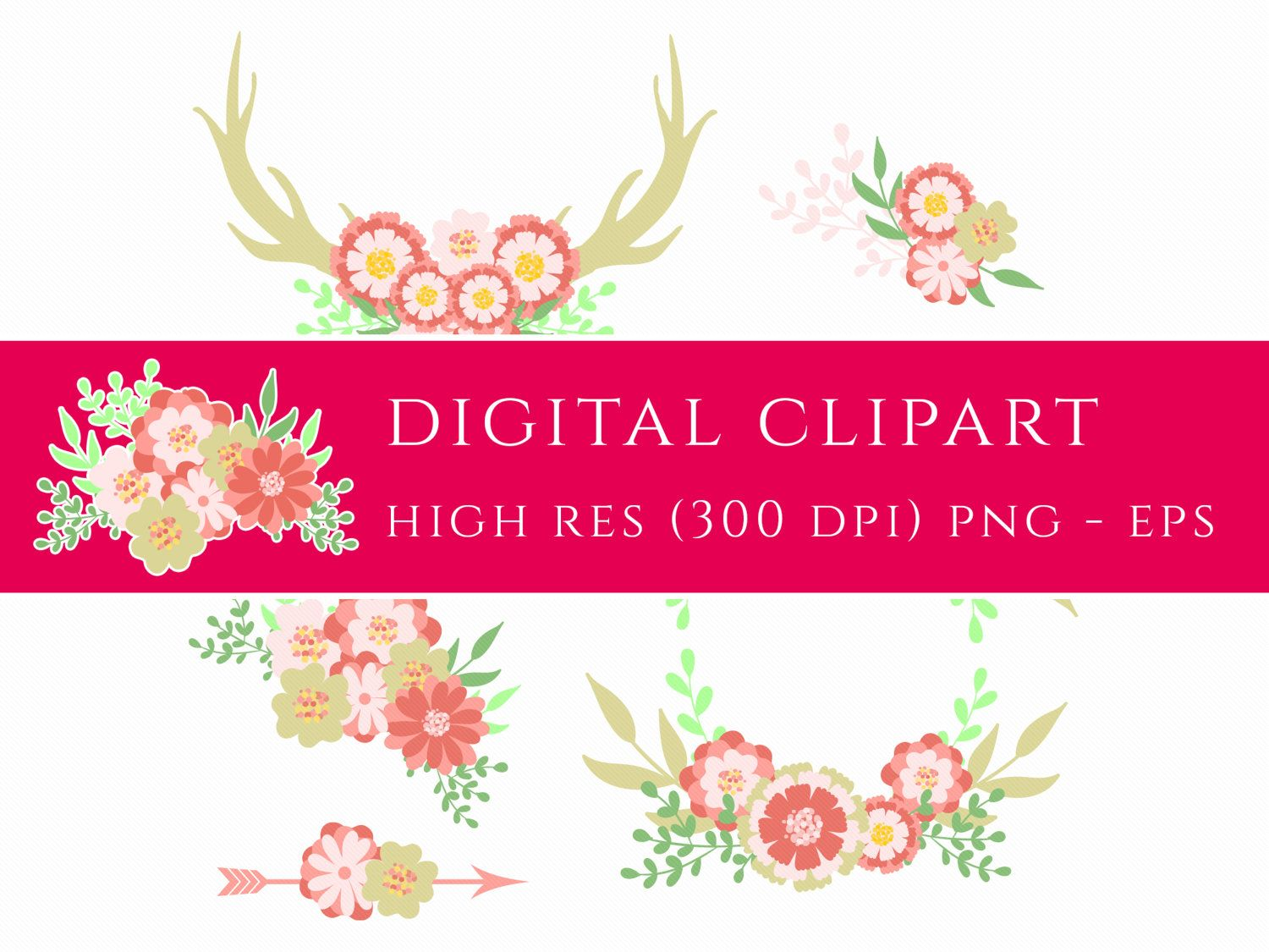 Floral Wedding Clipart Wreath Flower Boho Clip Art