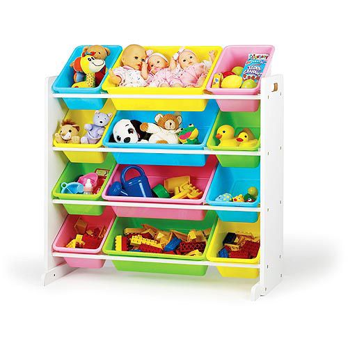 Humble Crew Kids Toy Storage Organizer With 12 Plastic Bins Multiple Colors Walmart Com Toy Storage Organization Kid Toy Storage Toy Organization