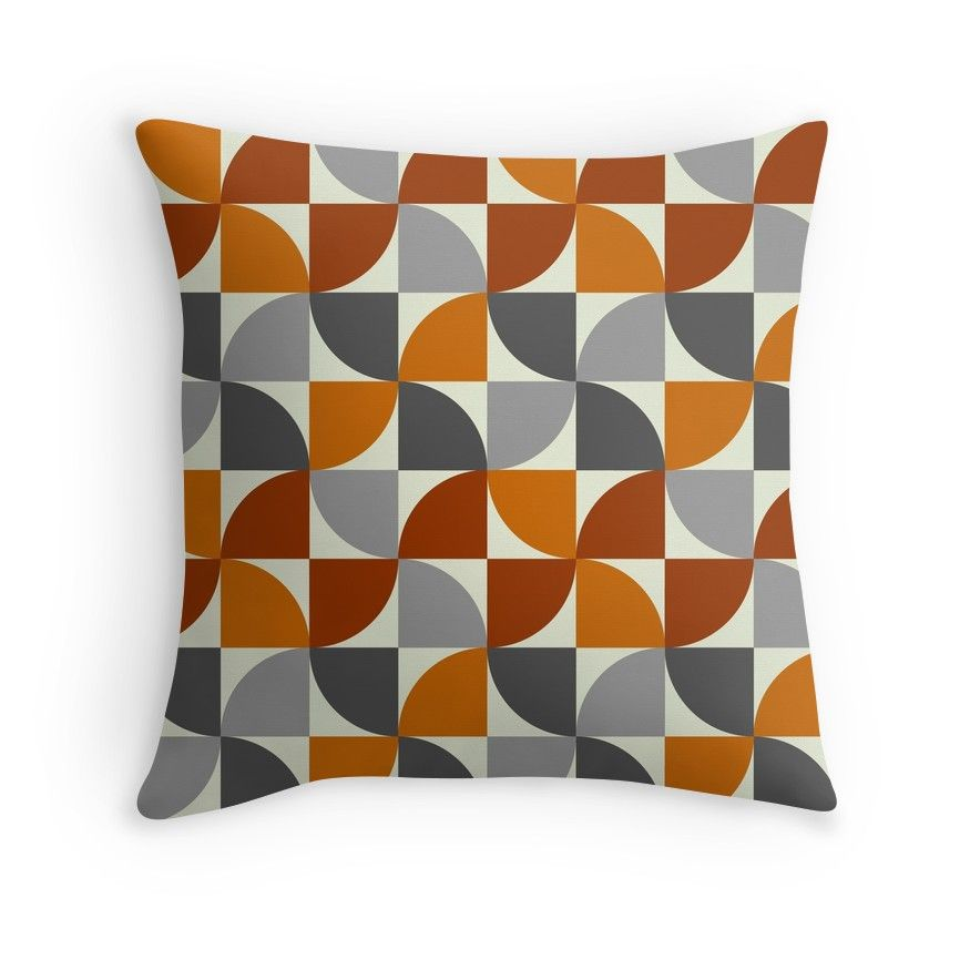 Grey And Orange Mid Century Modern Throw Pillow In 2020 Modern Throw Pillows Throw Pillows Pillows
