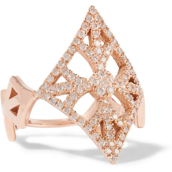 Carbon Hyde Gemetria 14karat rose gold diamond ring 1645