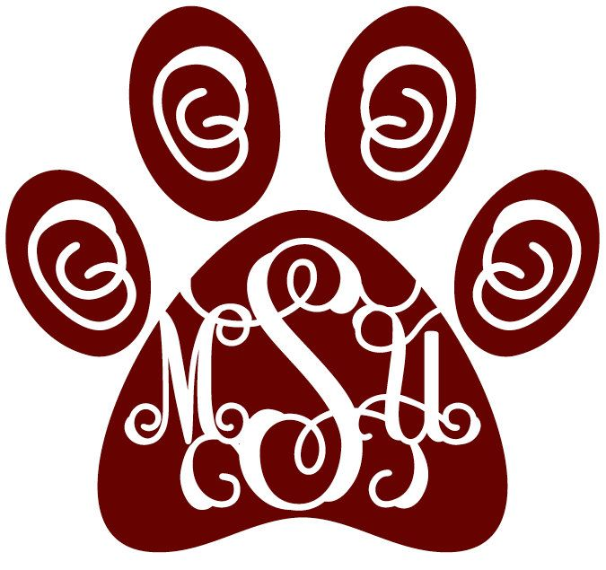 msu paw monogram mississippi state decal laptop decal