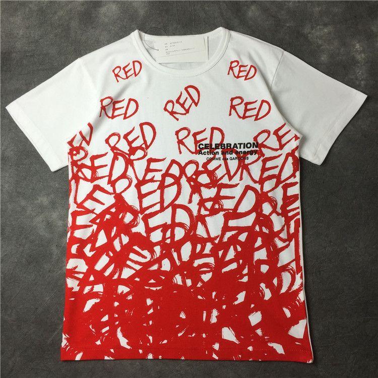 990 2016 лето последние новый женщины футболки белый красный ручной Writting сердца с коротким рукавом Cdg играть хлопок рождественский подарок tshirtкупить в магазине army anna's storeнаAliExpress