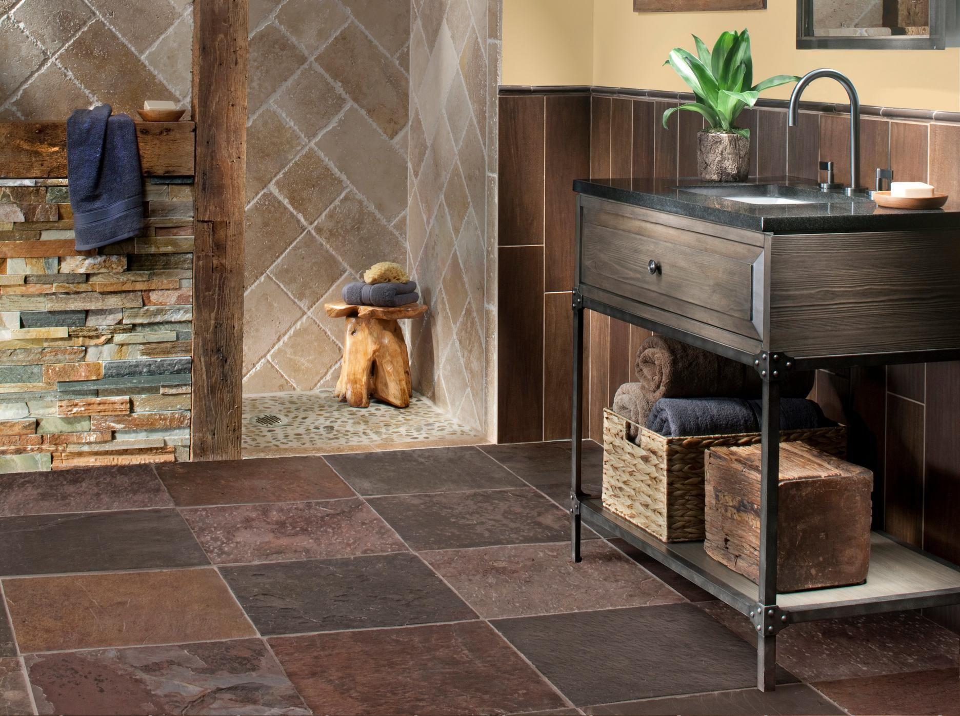 Natural Characteristics Of Wood And Stone Floor Decor Stone Tile Bathroom Rustic Tile