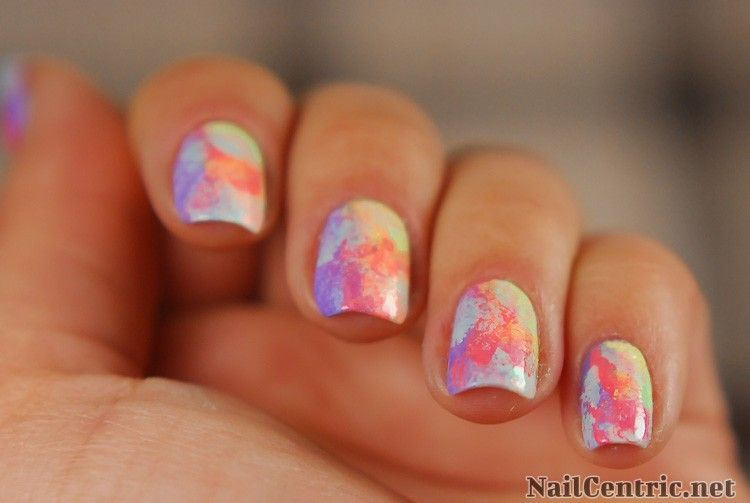 Messy Colorful Nails With A Makeup Sponge Tutorial Nailcentric
