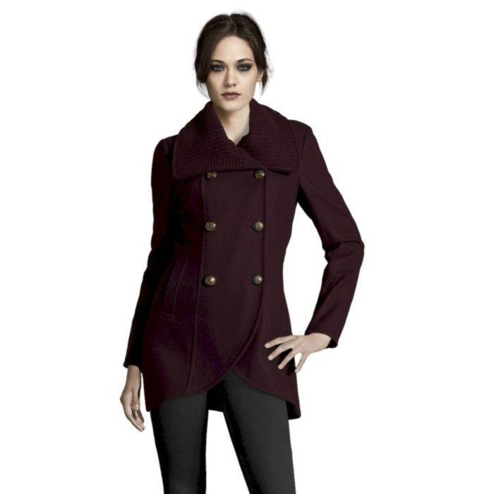 Wool Coat With Knit Trim Collar In Concord