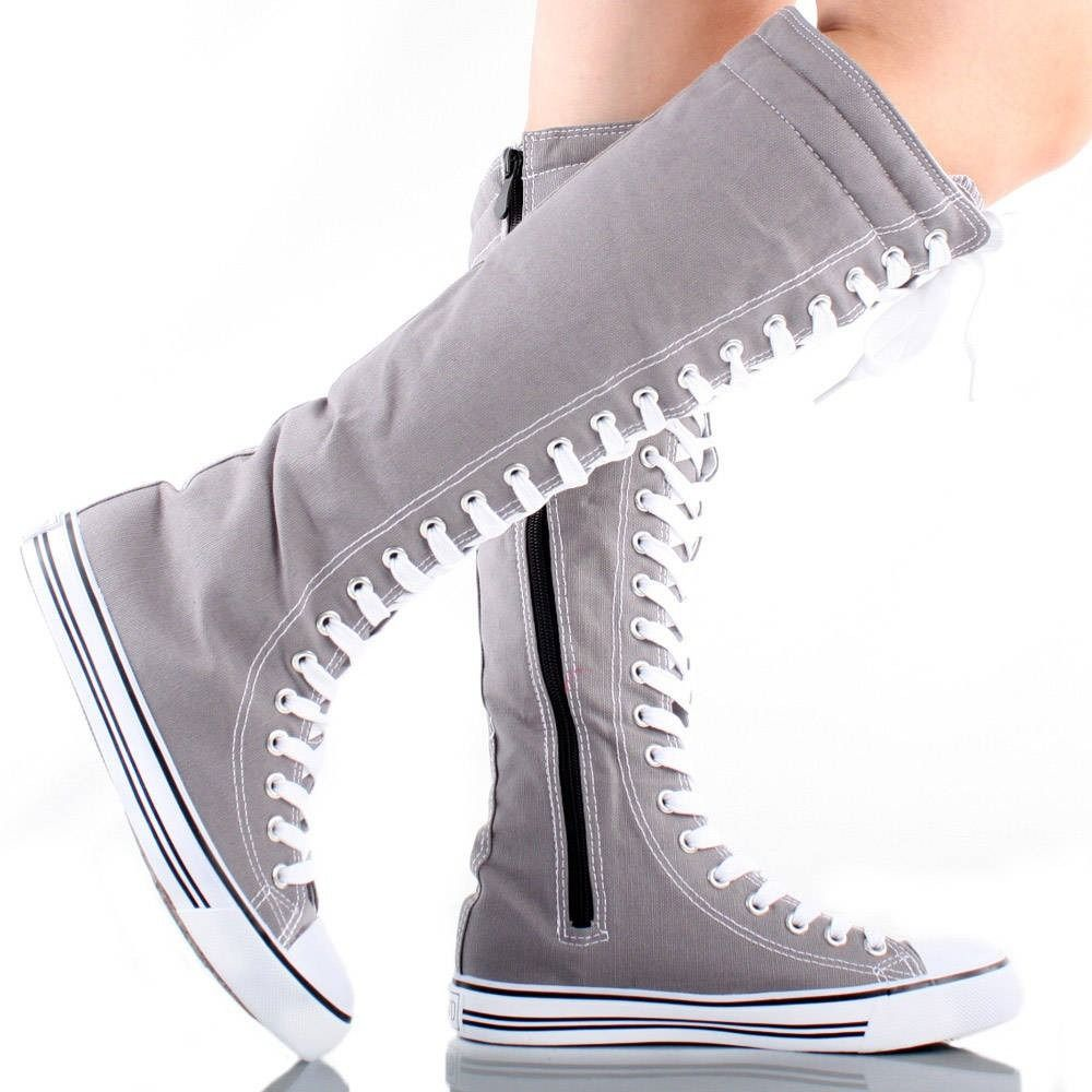 converse mujer altas grises