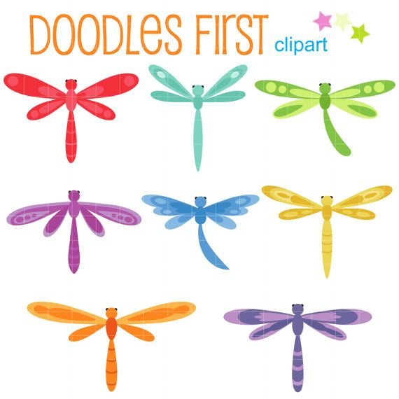 Colorful Dragonflies Digital Clip Art for by DoodlesFirst on Etsy