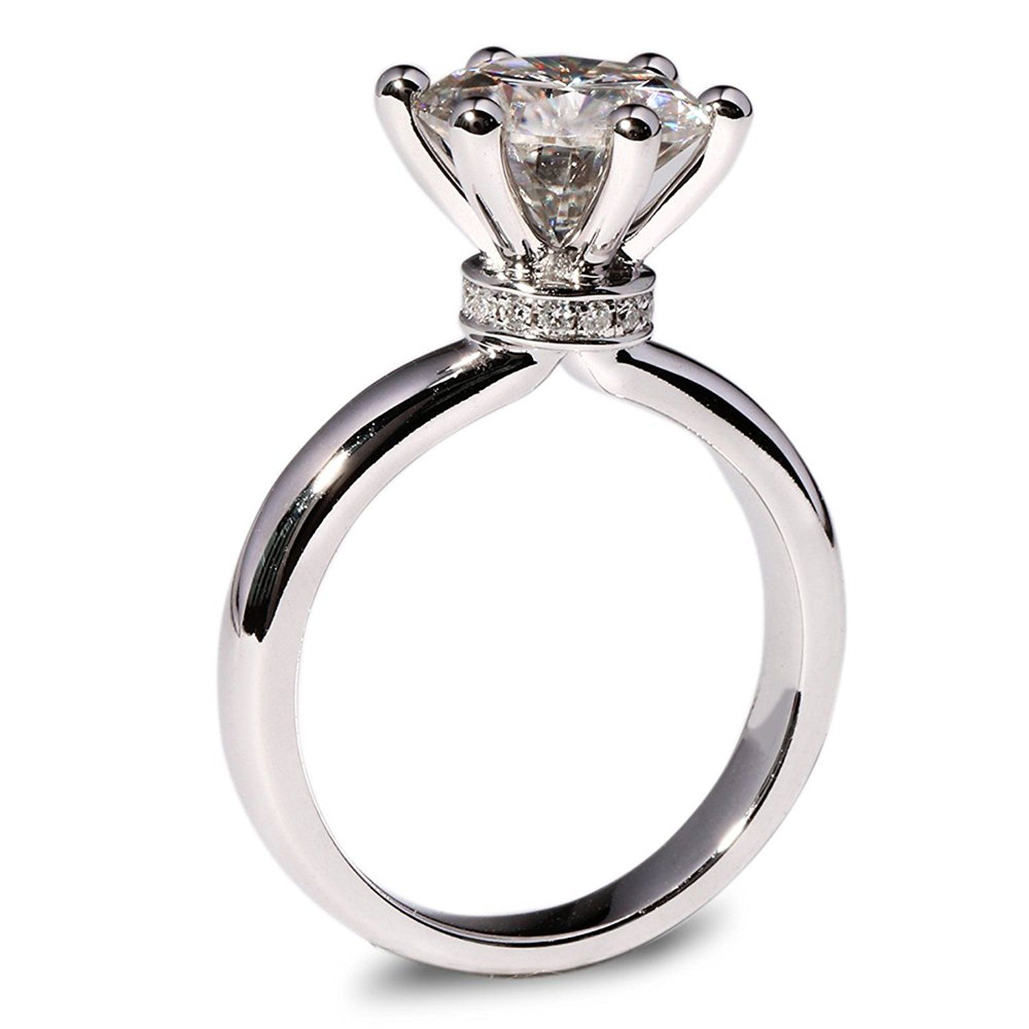 Transgems 3 Carct Super White Lab Moissanite Ring With Real Diamond Acc Engagement Rings Affordable Vintage Engagement Wedding Rings Moissanite Engagement Ring