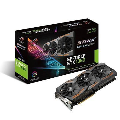 ﹩379.89. ASUS GeForce GTX 1060 6GB ROG STRIX VR Ready HDMI ...