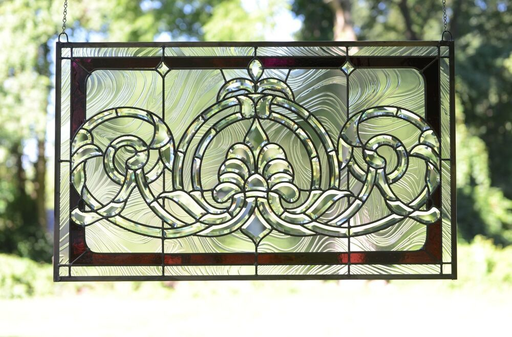 """Handcrafted stained glass Clear Beveled window panel 34/""""W  x 20.5/""""H"""