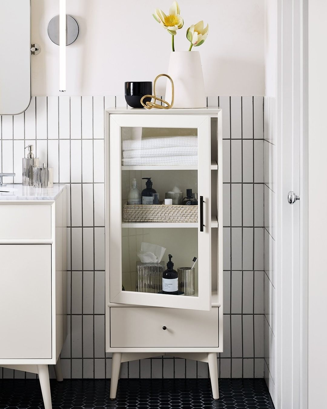 West Elm Furniture Decor On Instagram Selfcare Starts In The Bathroom Our New Fai Mid Century Bathroom Bathroom Furniture Storage Bathroom Furniture [ 1350 x 1080 Pixel ]