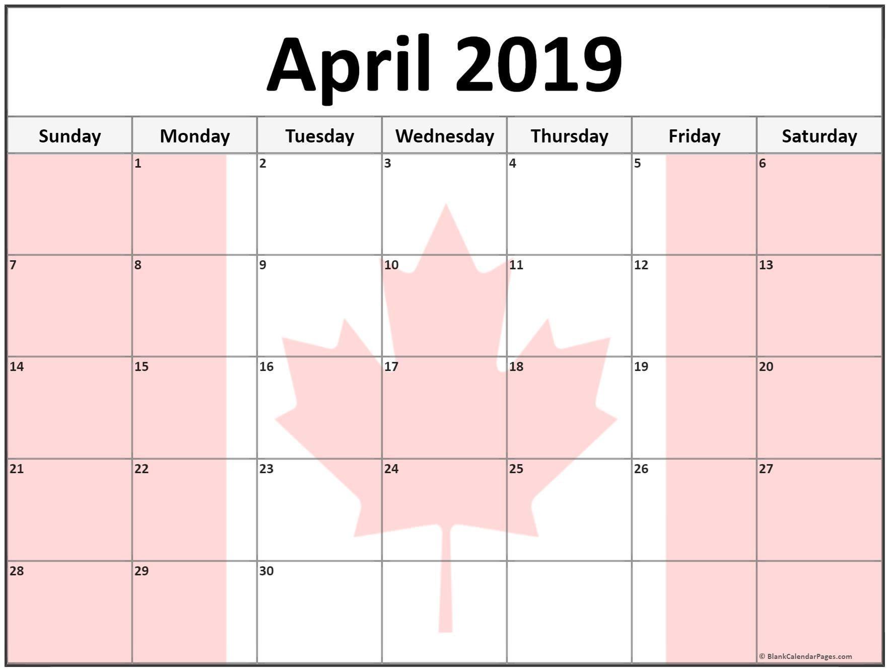 April 2019 Calendar Canada Printable Aprilcalendar2019