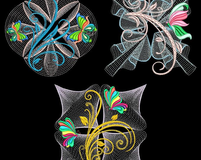 FLUTTERBY LUV #2 (4 inch)- 10 Machine Embroidery Designs ...