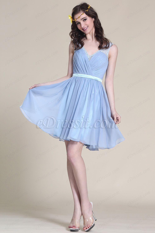 Ärmellos Blau Cocktail Kleid Brautjungfernkleid (07152405) | kleider ...