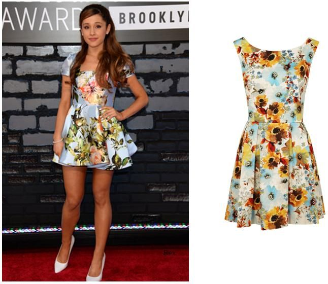 Arianna Grande wears floral dress all year round | Cool hair ...