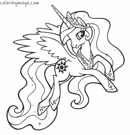 My Little Pony Coloring Page Princess Celestia Exercices Diey
