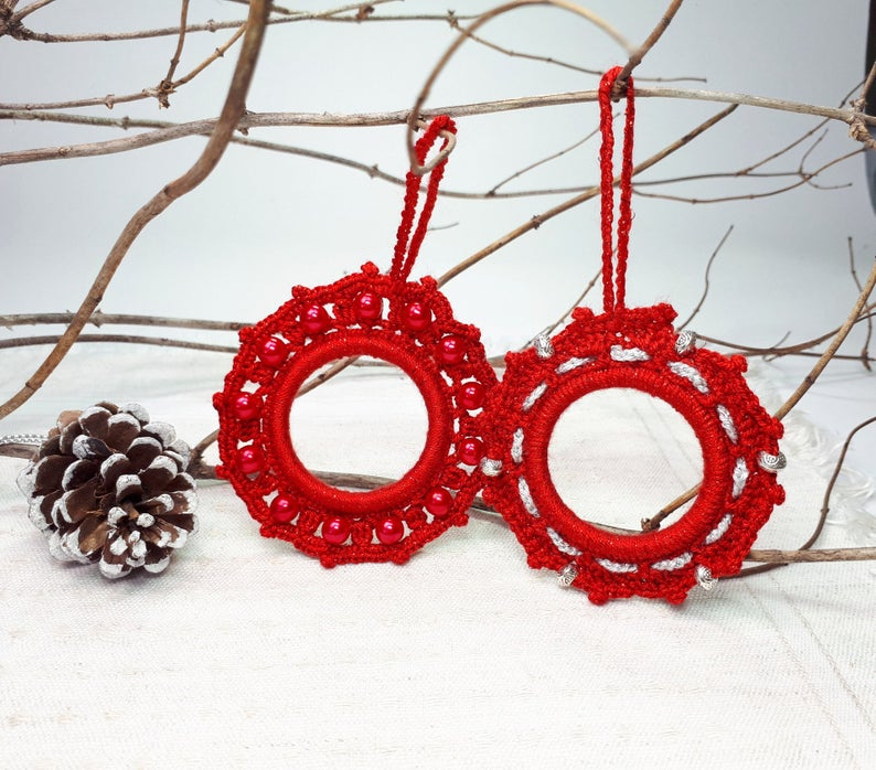 Photo of 2 Christmas Hanging Decorations, Small Crochet Wreaths