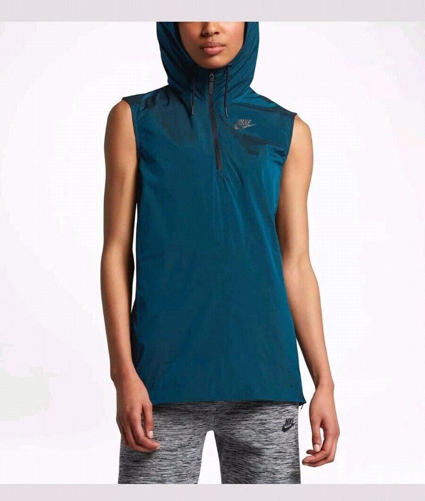 91b9c9f67ab0 NIKE WOMEN S SPORTSWEAR TECH HYPERMESH HOODED VEST NEW 833464 457 BLUE SIZE  XL  Nike  ShirtsTops