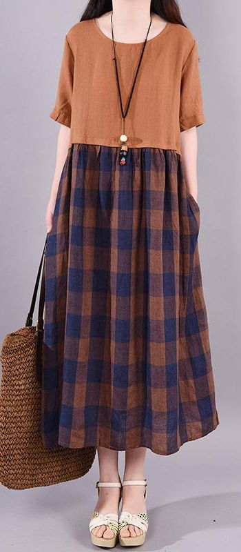 Chic linen dresses Metropolitan Museum Casual Spliced Round Neck Plaid Short Sleeve Dress