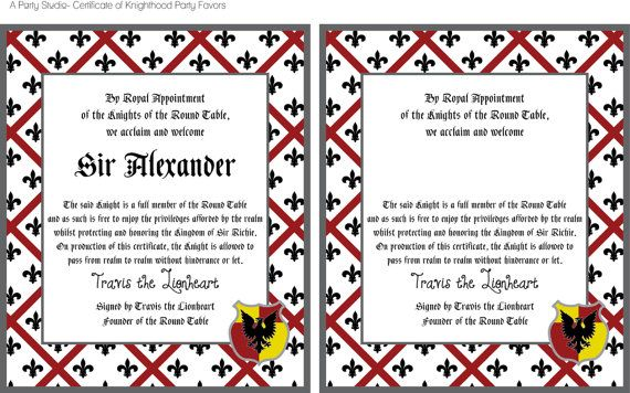 Knight birthday party favors certificate of knighthood party knight birthday party favors certificate of knighthood party printables from etsy yelopaper Image collections